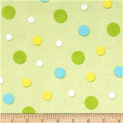 Bear Hugs Flannel Dots Green