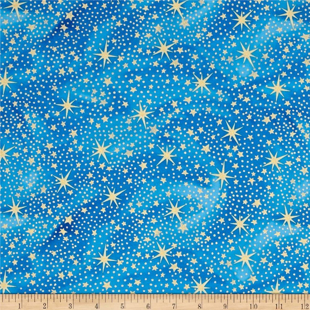 Nativity Metallic Stars Blue