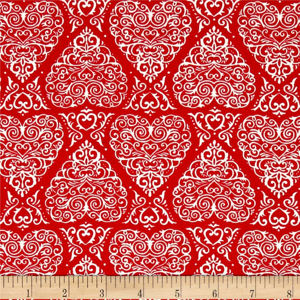 Moda Ever After Heart Damask Romantic Red