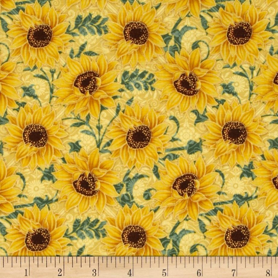 Tuscan Sunflowers Metallic Sunflower Cream