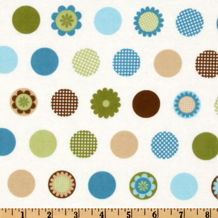 Cozy Cotton Flannel Motif Dots Aqua Fabric