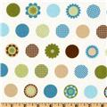 Cozy Cotton Flannel Motif Dots Aqua