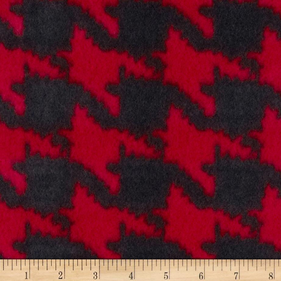 Printed Fleece Houndstooth Red
