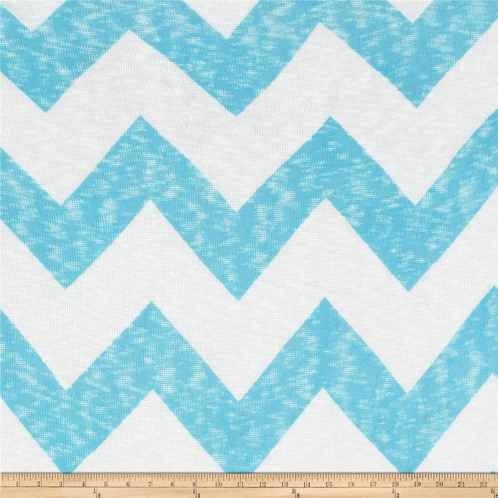 Open Weave Sweater Knit Chevron White/Turquoise
