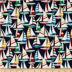 Sail Away Sailboats Allover Navy