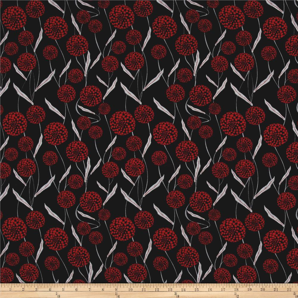 Cherry Pop Queen Anne's Lace Black Fabric