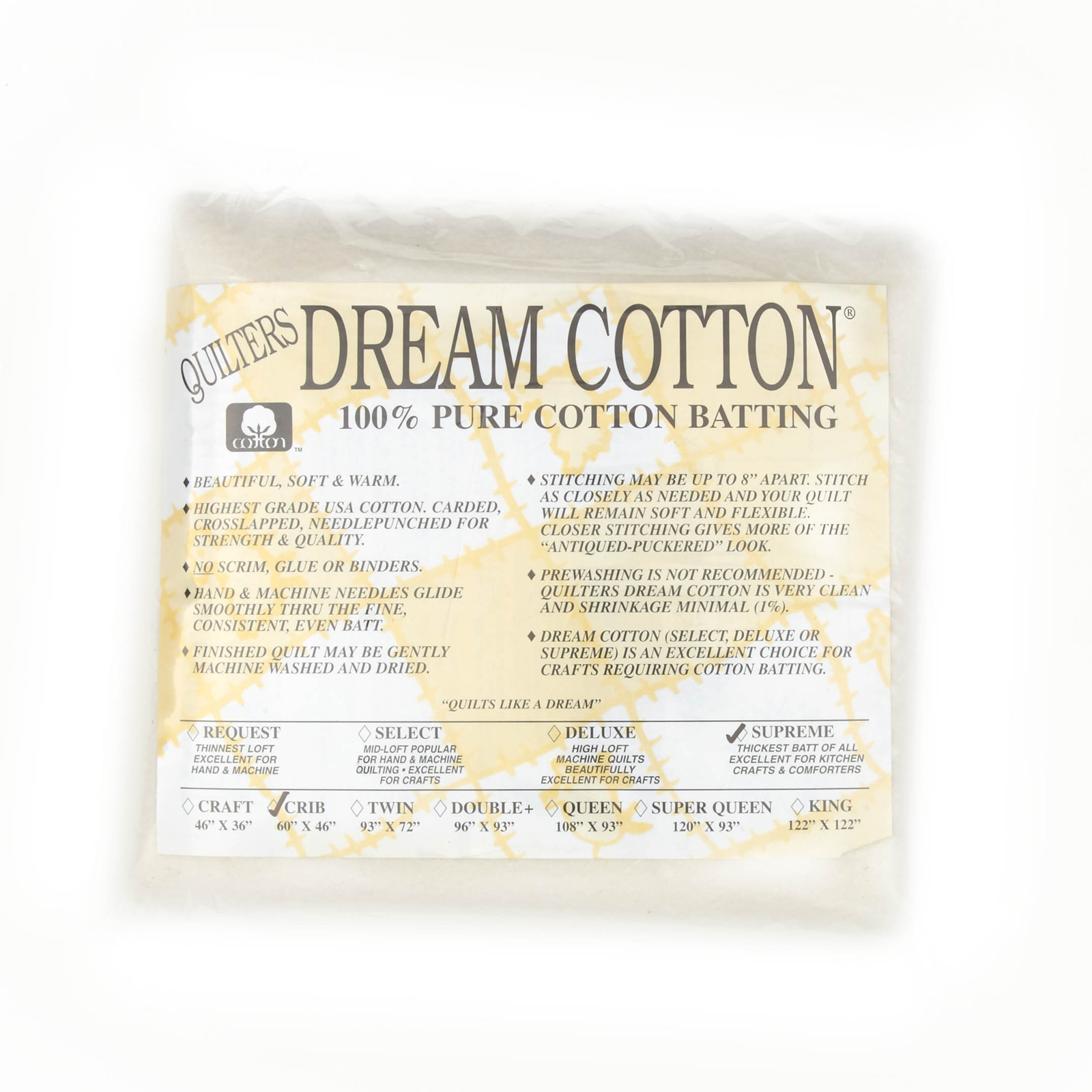 Quilter's Dream Natural Cotton Supreme Batting (46'' x 60'') Crib by Quilter's Dream in USA
