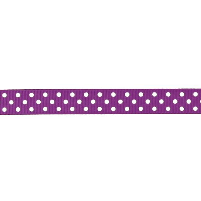 "5/8"" Grosgrain Ribbon Polka Dots Purple/White"
