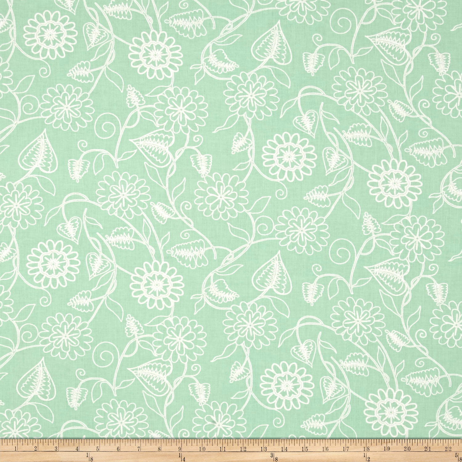 Clean Living Floral Mint Fabric by Henry Glass in USA