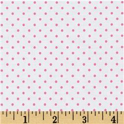 Riley Blake Swiss Dots White/Hot Pink