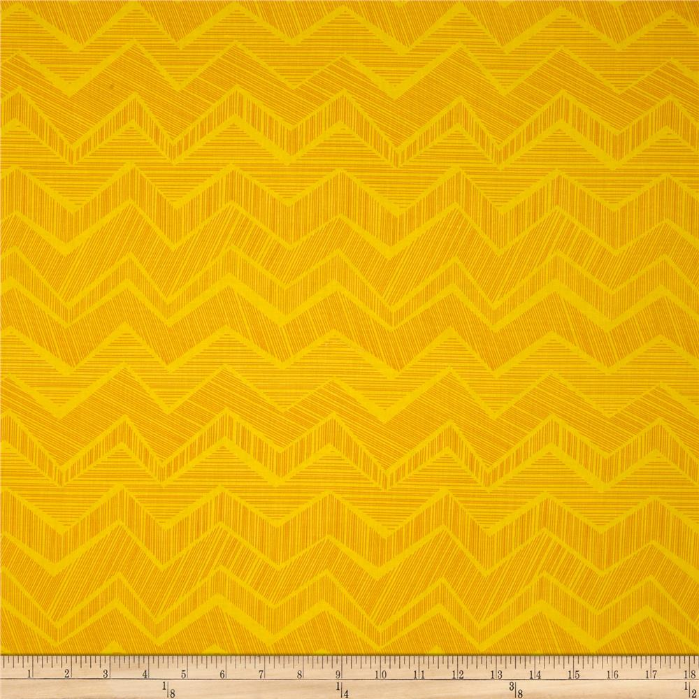 Timeless Treasures Apple of My Eye Matilde Abstract Chevron Yellow