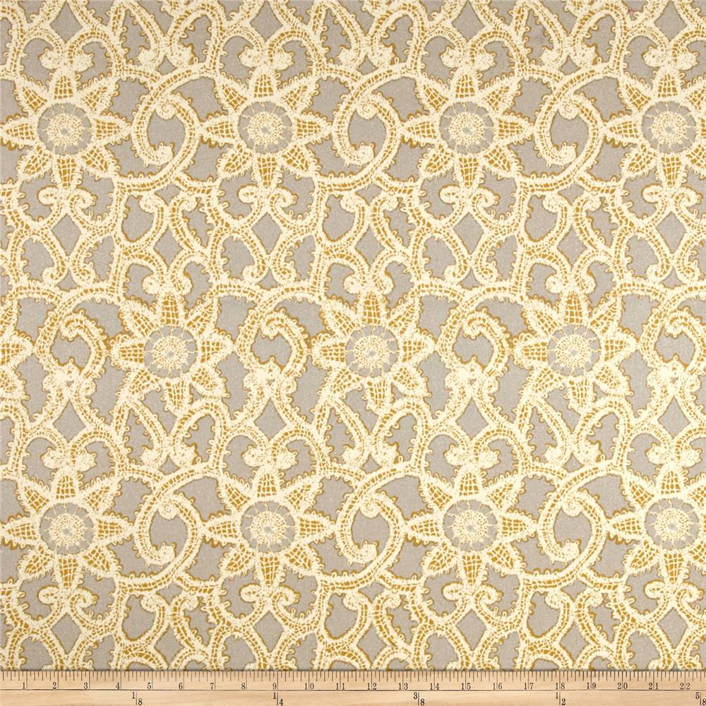 Waverly Like Lace Metallic Platinum Fabric