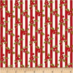 Moda Snowfall Prints Holly Poinsettia
