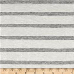 Jersey Knit Small Gray Stripe on Ivory