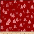 Moda Merry Scriptmas Trees & Snowflakes Christmas Red