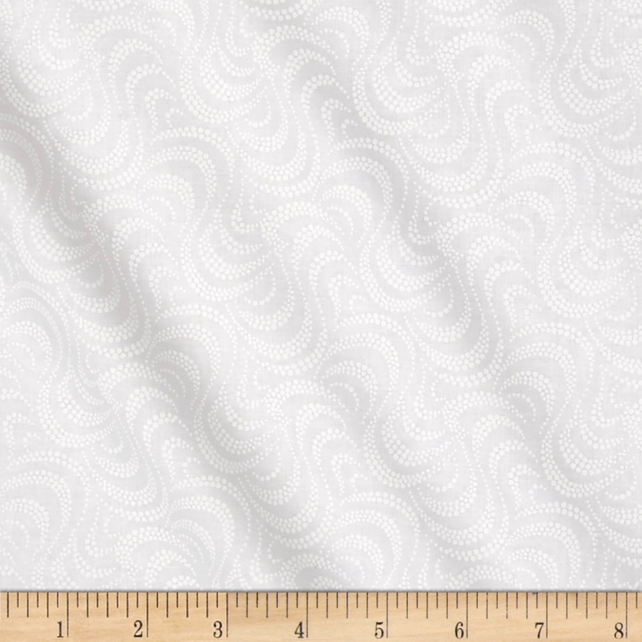 Ramblings 11 Wave White on White Fabric by P & B in USA