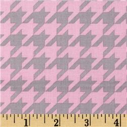 Riley Blake Medium Houndstooth Baby Pink/Grey