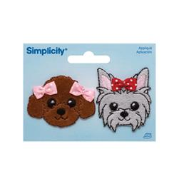 Simplicity Iron On Appliques 2/Pkg Puppies W/Bows