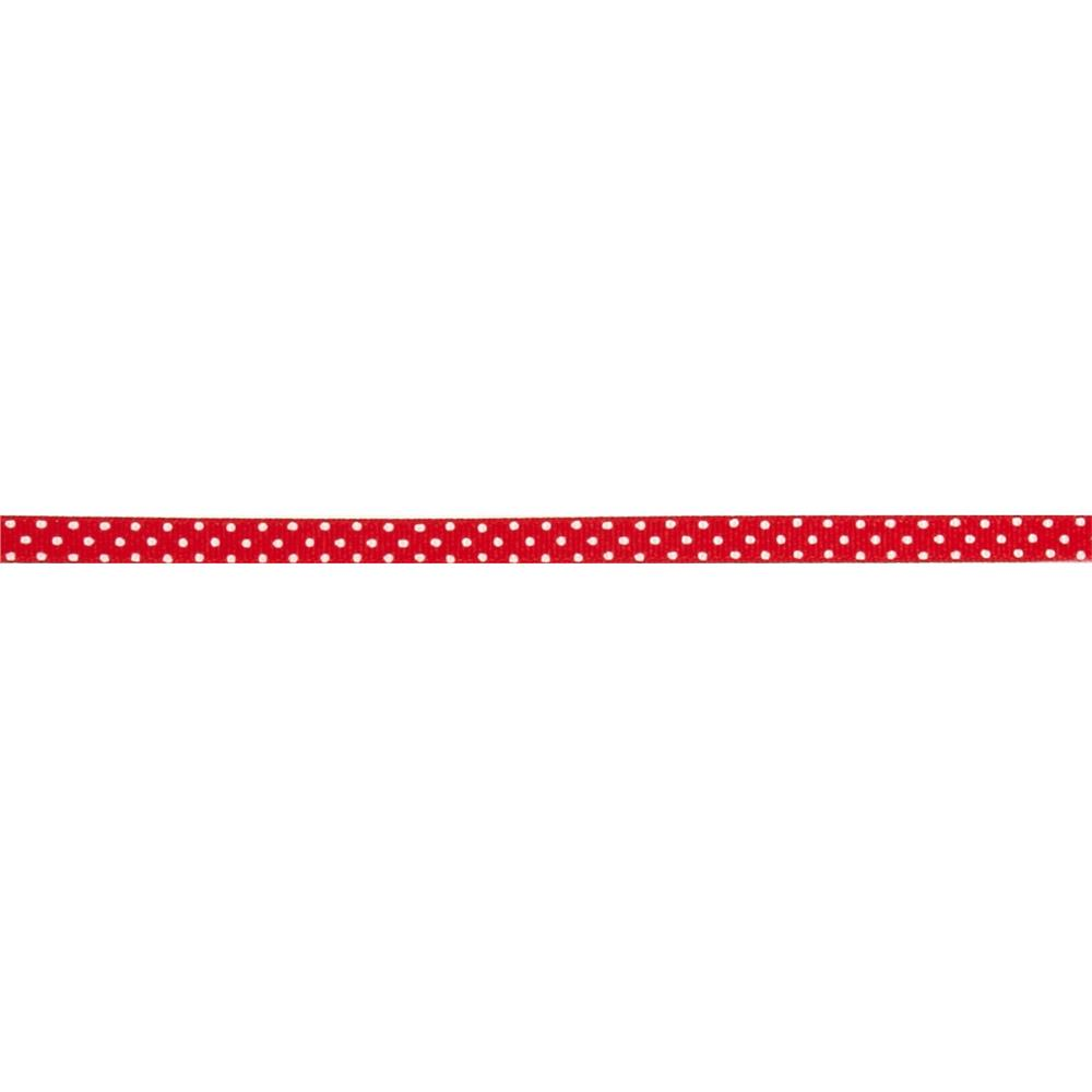 3/8'' Grosgrain Swiss Dot Ribbon Red