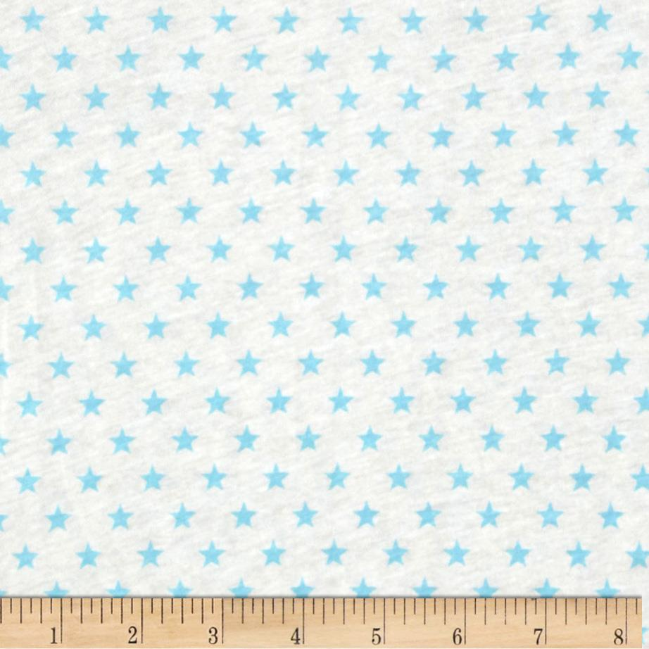 Stretch Cotton Jersey Knit Stars White/Blue