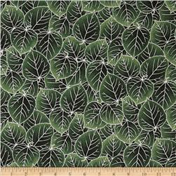 Aspen Creek Metallic Leaves Evergreen/Silver