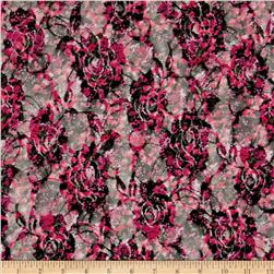 Printed Lace Flowers Black/Pink