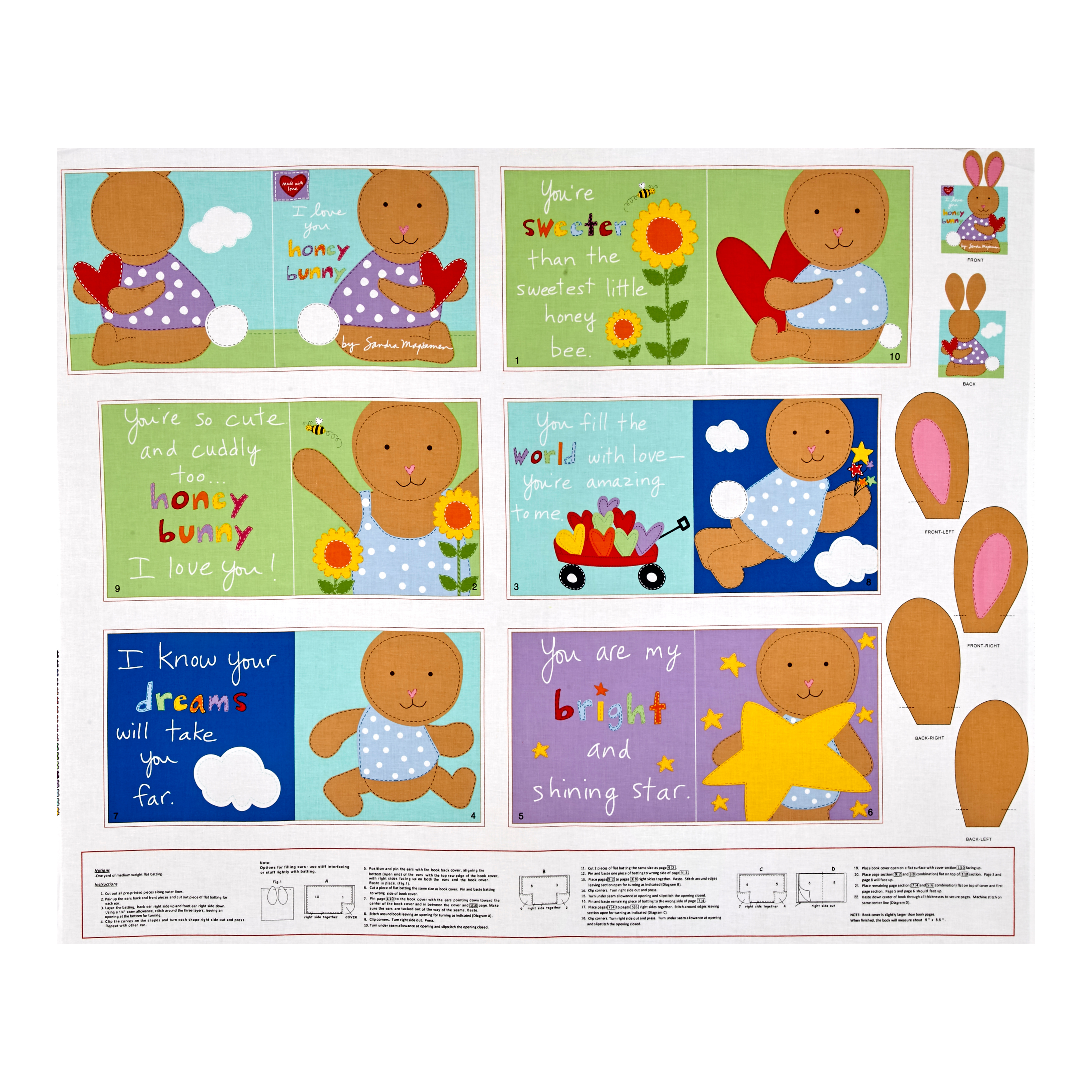 Huggable & Loveable I love You Honey Bunny Soft Book Panel Fabric 0438446