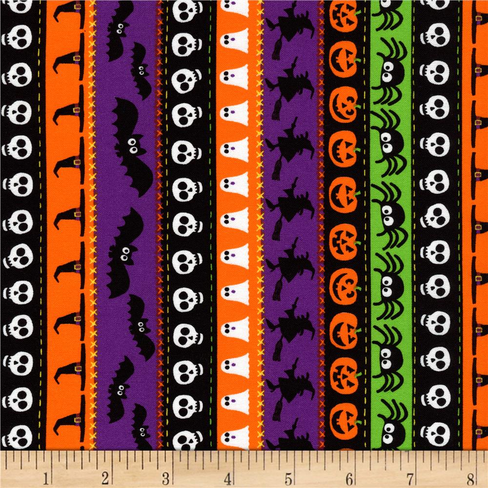 Timeless Treasures Halloween Minis Stripe Black