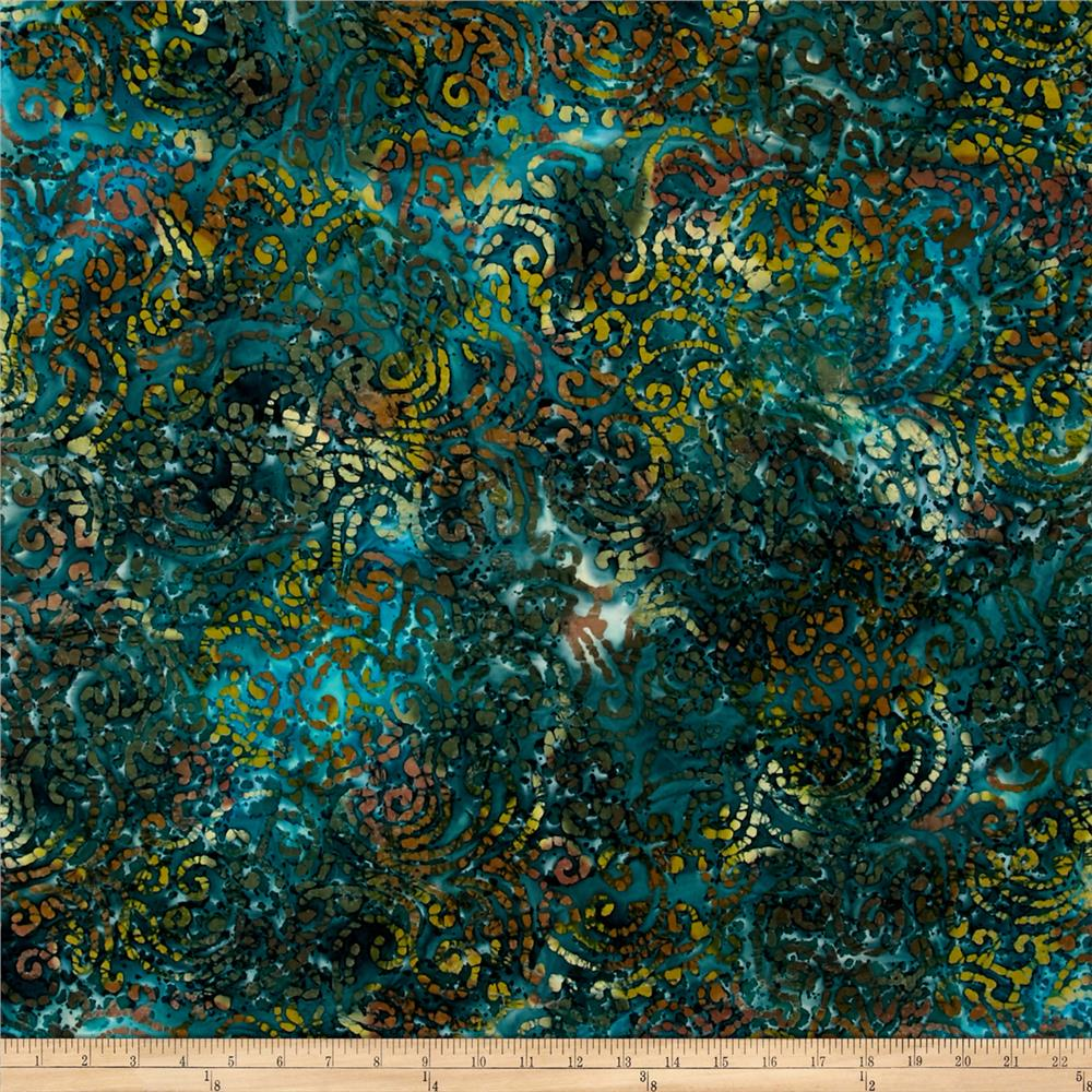 Indian Batik Cascades Scroll  Teal/Nat Multi