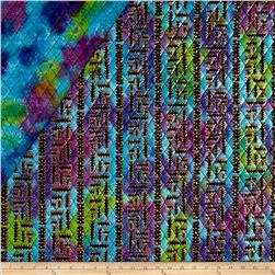 Double Face Quilted Indian Batik X's & O's Metallic Lime/Purple/Aqua