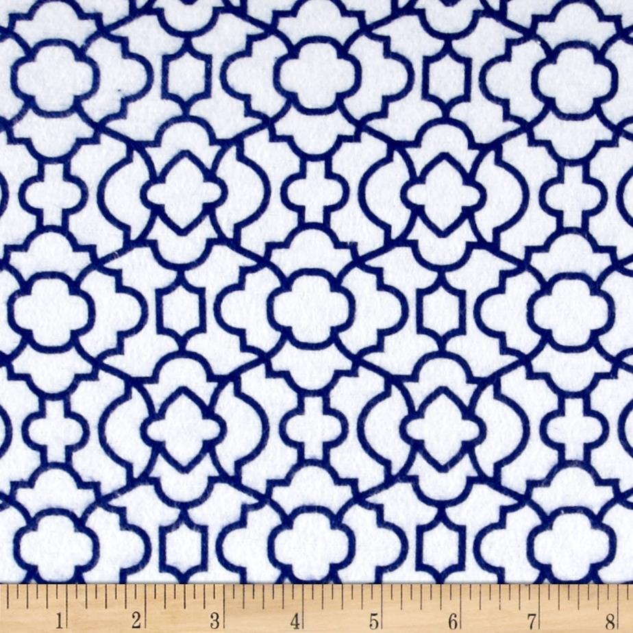 Flannel Bella Trellis Navy Fabric