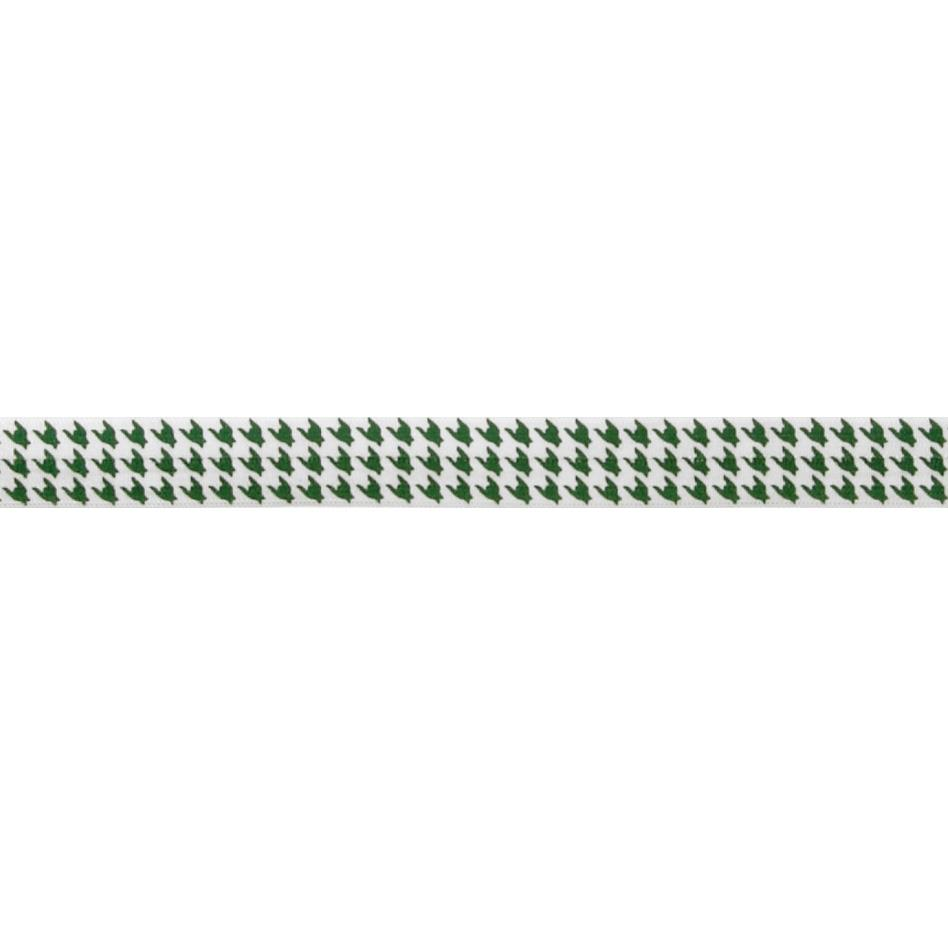 "5/8"" Fold Over Elastic Houndstooth Emerald"