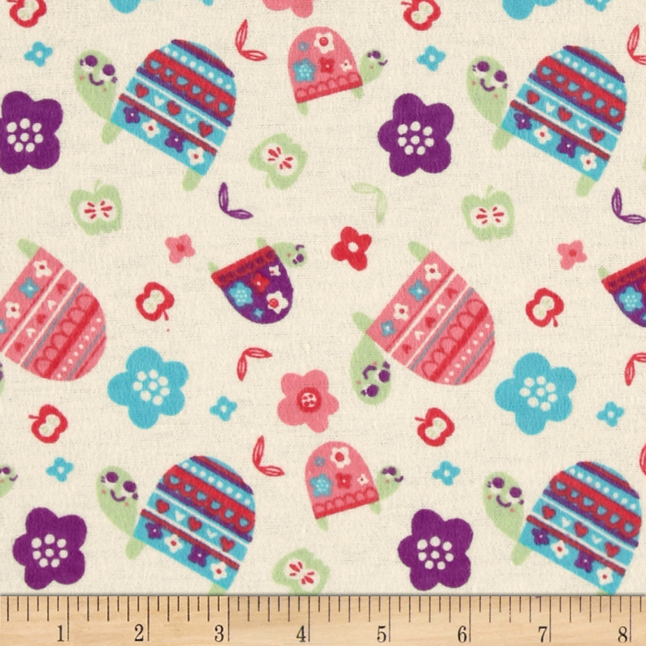 Flannel Turtles Ivory Fabric