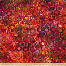 Indian Batik Tribal Circles Fuchsia/Orange