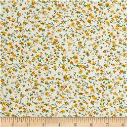Hampton Court Cotton Shirting Floral Print Yellow