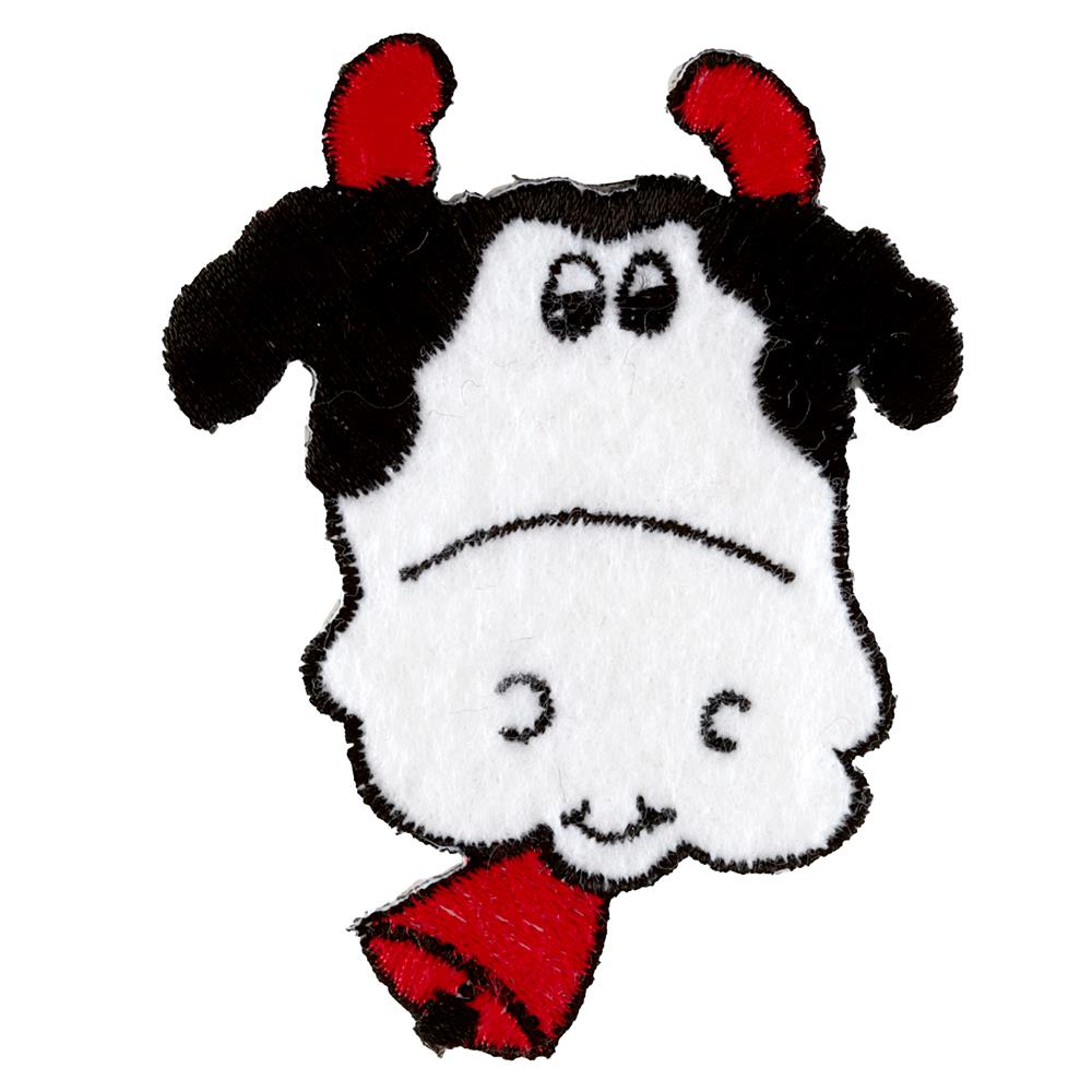 Cow Head with Bells Applique White
