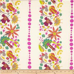 Field Day Small Floral Stripe White Fabric