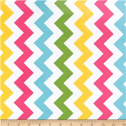 Riley Blake Laminate Medium Chevron Pink/Blue/Green/Gold