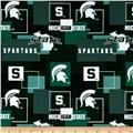 Collegiate Cotton Broadcloth Michigan State University Block Print Green