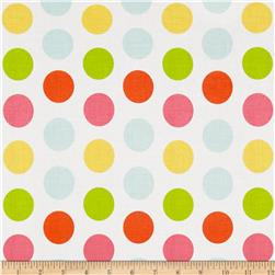 Riley Blake Large Dot White/Multi Fabric