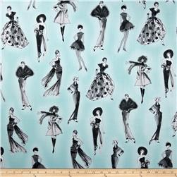 City Chic City Girl Aqua Fabric