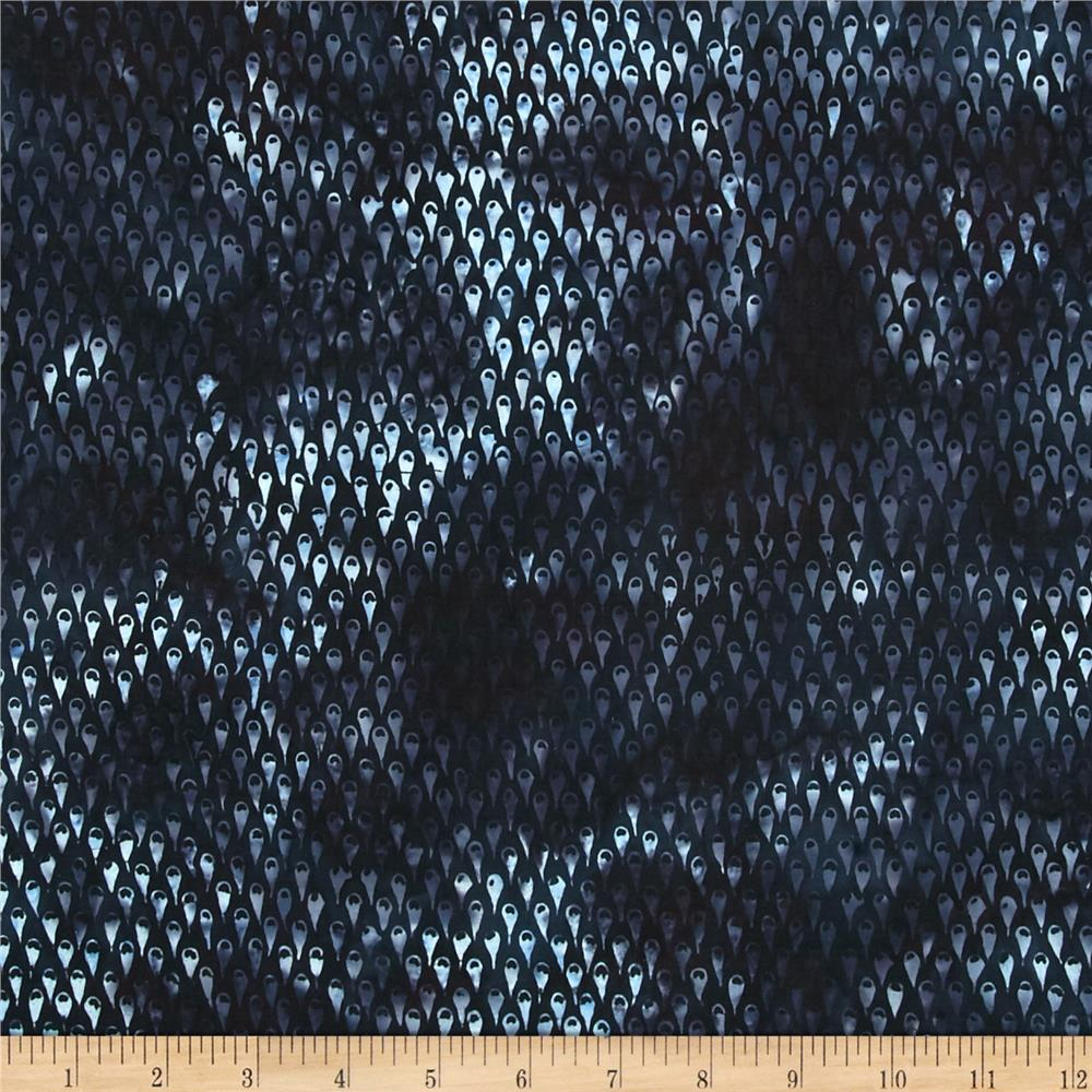 Island Batik Raindrops Keep Falling on My Head Amoeba Dk. Blue
