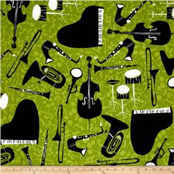 Jazz Jam Jazz Band Green Fabric