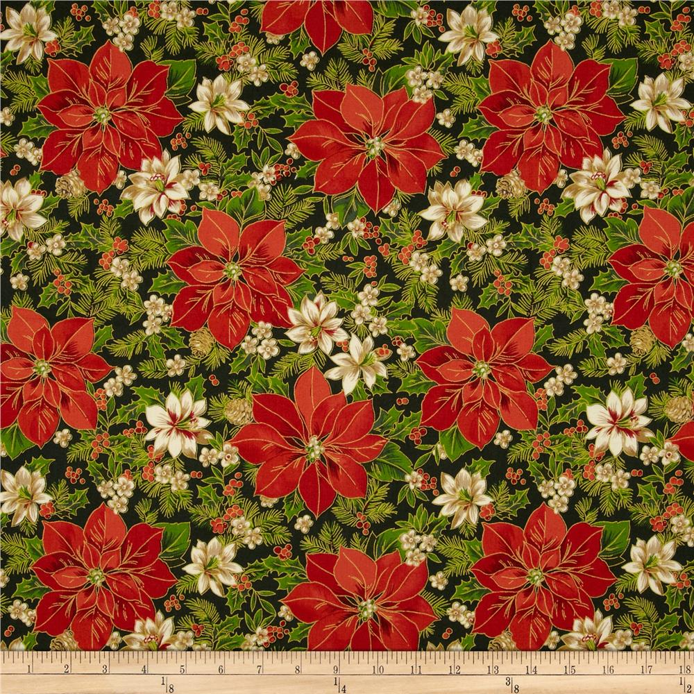 Christmas Day Poinsettias Green/Red