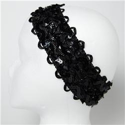 "2 3/4"" Sequin Ruffle Ribbon Stretch Headband Black"