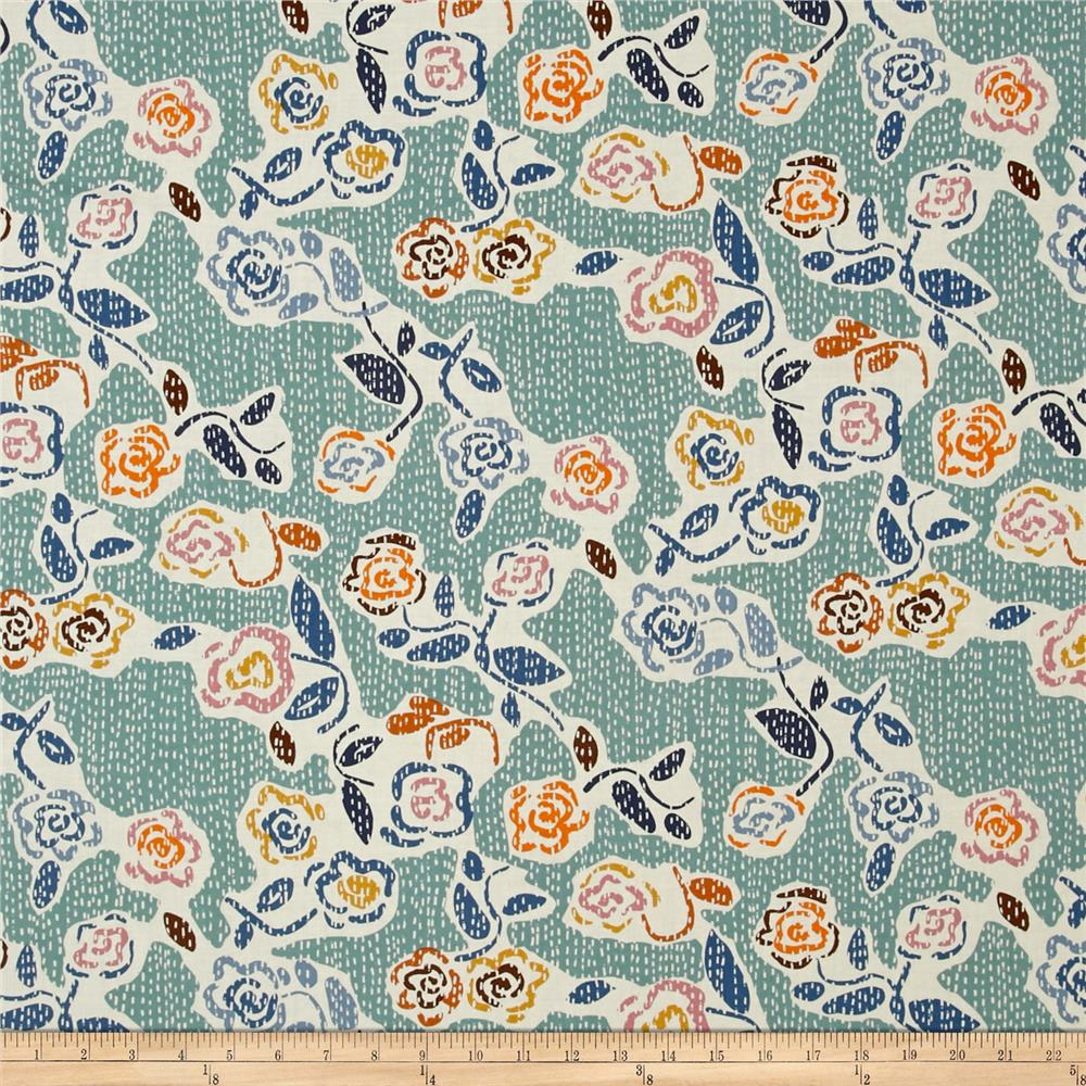 Dear Stella Tossed Flowers Teal/Multi