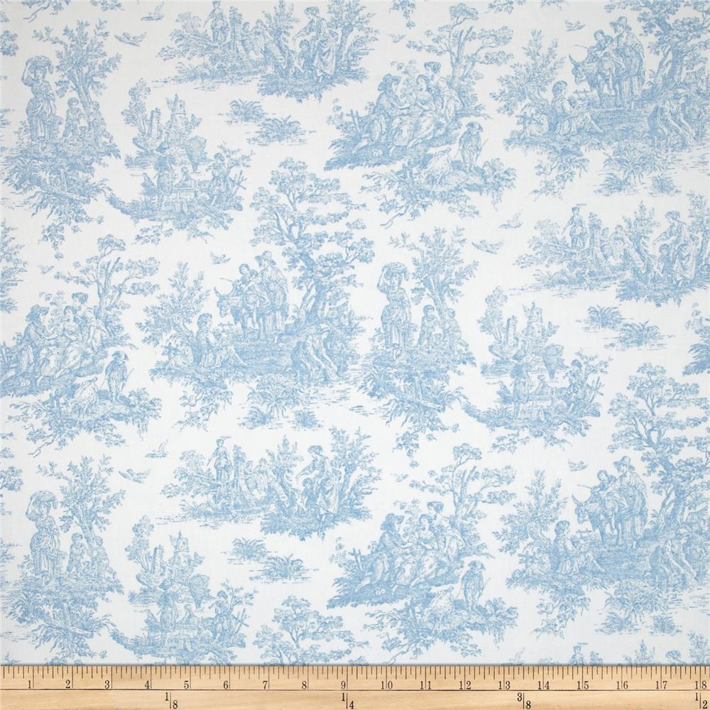 Premier prints jamestown toile baby blue discount for Cheap baby fabric