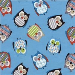 Timeless Treasures Woodlot Owls Blue Fabric