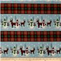 A Christmas To Remember Snowman & Reindeer Stripe Light Blue