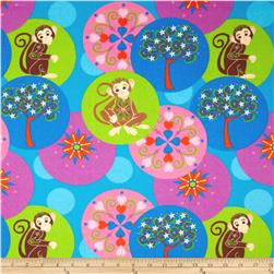 Mystic Forest Flannel Monkey And Flower Circles Blue/Multi